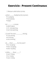 Exercício - Present Continuous