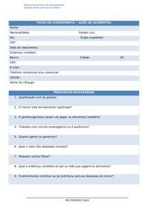 Ficha de atendimento ação de alimentos e tabela de despesas mensais