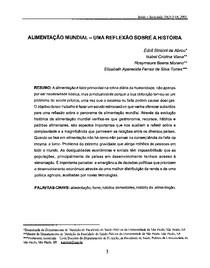 ALIMENTAÇÃO MUNDIAL   UMA REFLEXÃO SOBRE A HISTÓRIA