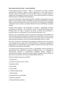 Base nacional Comum Curricular resumo introdutório