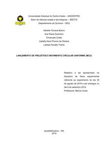 LANÇAMENTO DE PROJÉTEIS E MOVIMENTO CIRCULAR UNIFORME (MCU)