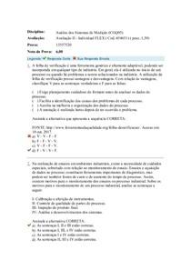 Avaliação Objetiva II Análise Sistemas de Medição
