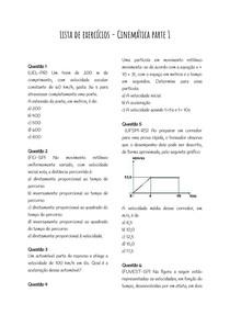 Lista de exercícios - Cinemática parte 1