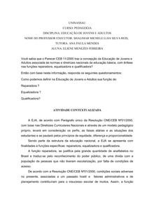 ATIVIDADE CONTEXTUALIZADA - EDUCAÇÃO DE JOVENS E ADULTOS
