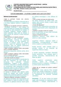 Estudo Dirigido Sistema Cardiovascular E Linfatico 1 1