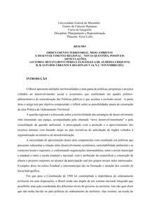 ORDENAMENTO TERRITORIAL, MEIO AMBIENTE_resumo