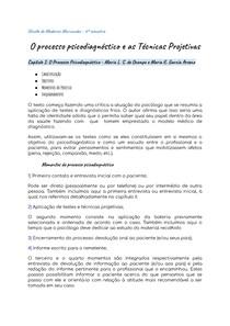 Fichamento Psicodiagnóstico: O processo psicodiagnóstico e as Técnicas Projetivas Cap I: O Processo Psicodiagnóstico
