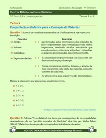 Didática do Contar Histórias - 20 Exercícios resolvidos dos Temas 5 ao 8