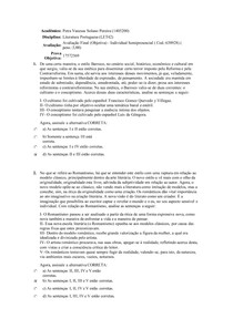 Avaliação Final (Objetiva) - Literatura Portuguesa - Uniasselvi