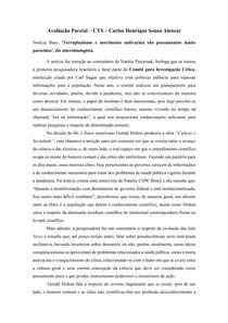 """Comentário sobre notícia e sua relação com a produção """"Ciência e Sociedade"""""""