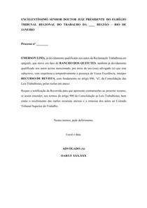 MODELO DE RECURSO DE REVISTA (TRABALHISTA)