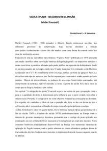 Resumo Crítico - Vigiar e Punir (Michel Foucault)