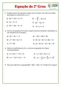 Exercício - Equação do 2º Grau docx
