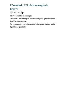 Fórmula do Cálculo da energia de ligação