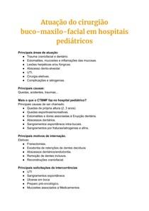 Atuação do cirurgião buco-maxilo-facial em hospitais pediátricos