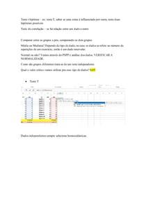 Teste T e teste correlação
