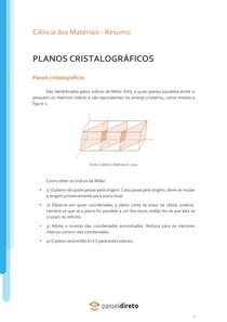 Planos cristalográficos - Resumo