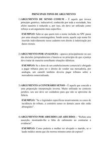 PRINCIPAIS TIPOS DE ARGUMENTOS JURÍDICOS