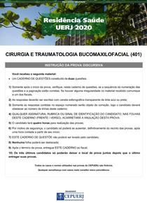 prova discursiva 2020 RESIDENCIA CIRURGIA BUCOMAXILOFACIAL