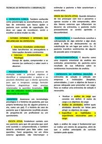 RESUMO TÉCNICAS DE ENTREVISTA E OBSERVAÇÃO
