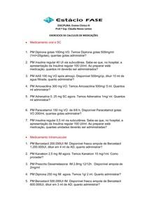 EXERCICIOS DE CALCULOS DE MEDICAÇÕES 2017 2