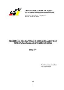 RESISTÊNCIA DOS MATERIAIS E DIMENSIONAMENTO DE ESTRUTURAS PARA CONSTRUÇÕES RURAIS