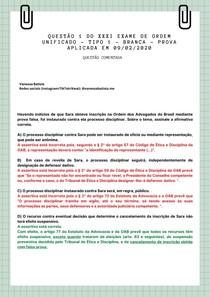 QUESTÃO COMENTADA - OAB - ÉTICA PROFISSIONAL- PROCESSO DISCIPLINAR