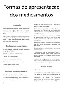 Formas de apresentação dos medicamentos