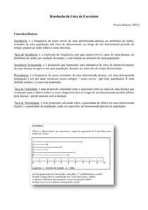 Epidemiologia - Resolução Exercícios Medidas de Frequência de Doenças