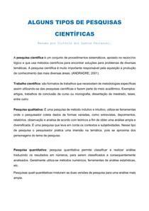 ALGUNS TIPOS DE PESQUISAS CIENTÍFICAS