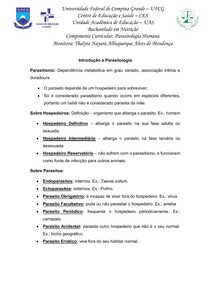 1 Unidade - Resumos - Intrroduçao - Giardia - Ameba - Tricomoniase
