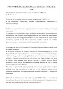 IAS 8/CPC 23: Políticas Contábeis, Mudança de Estimativa e Retificação de Erro.