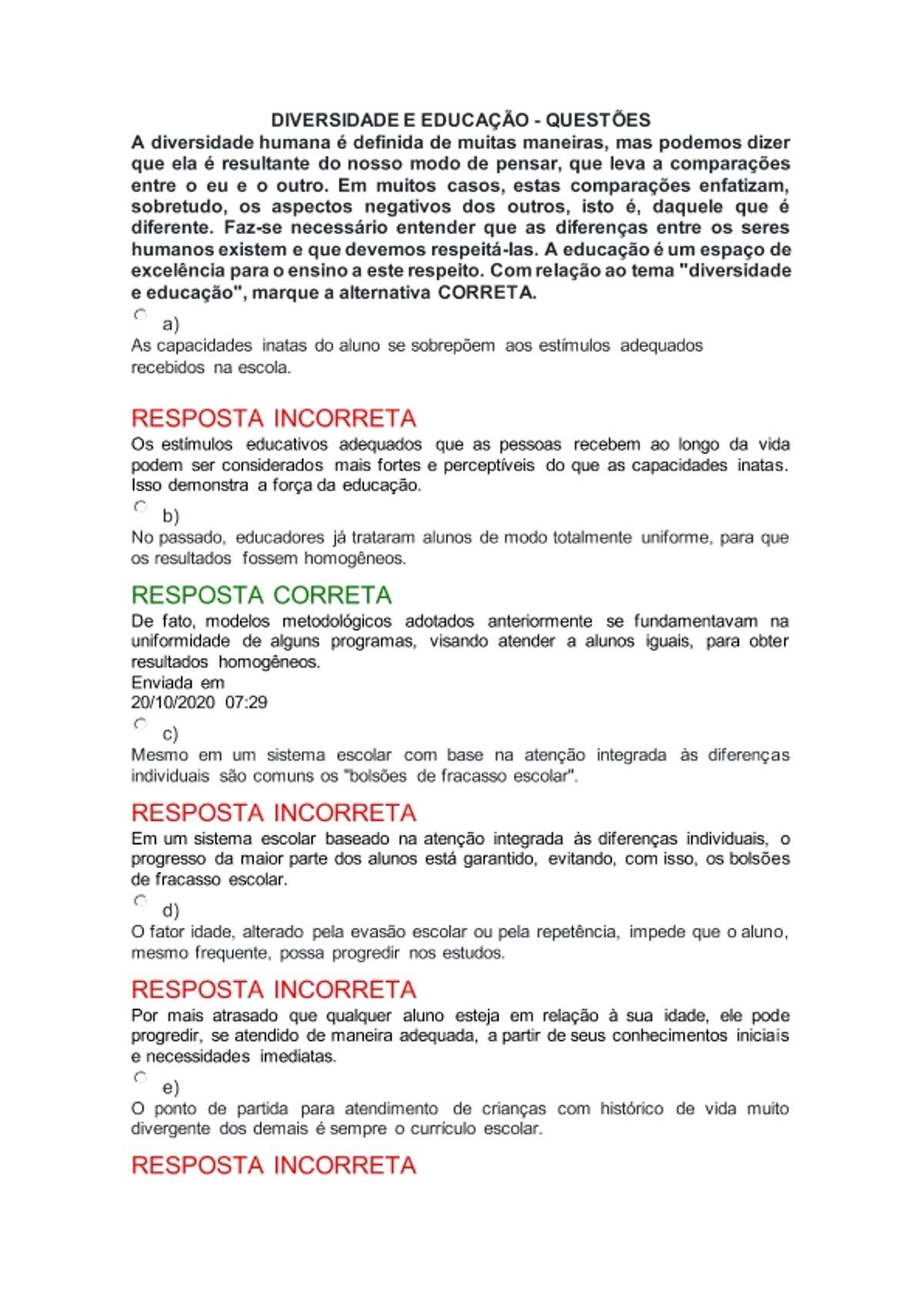 Pre-visualização do material DIVERSIDADE E EDUCAÇÃO - N1 - QUESTÕES TOPICO 1 AO 6 - página 1