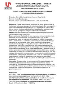 ANÁLISE DA INFLUÊNCIA DE ELEVADAS TEMPERATURAS EM REVESTIMENTO DE ARGAMASSA