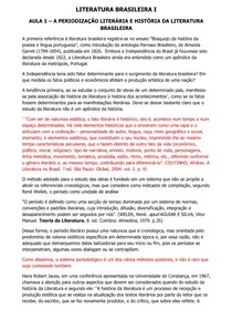 Literatura Brasileira I - Conteúdo Online
