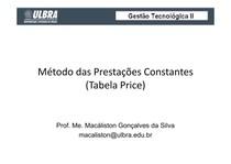 Aula sobre Método das Prestações Constantes (Tabela Price)