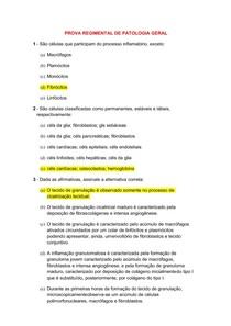 PROVA DE PATOLOGIA GERAL