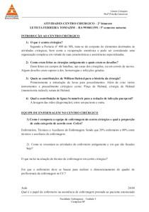 ATIVIDADES CENTRO CIRURGICO