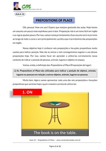 Aula 16 - Prepositions of place 1