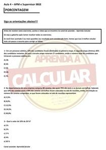IBGE AULA 3 APM E SUPERVISOR, CONCURSO IBGE 2021 (porcentagem )#EXCLUSIVOPD