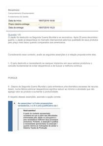 APOL 1 Comportamento Empreendedor, Fundamentos de Gestão   GABARITO