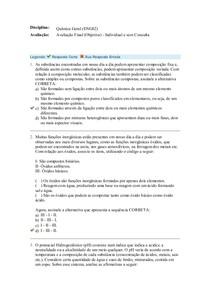 Química Geral (ENG02) Avaliação Final (Objetiva)   Individual e sem Consulta