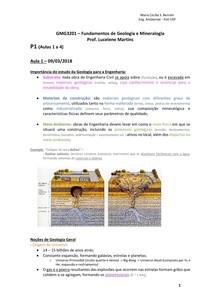 Fundamentos de Geologia e Mineralogia - Resumo das Aulas 1 a 4 - POLI-USP - Eng. Ambiental