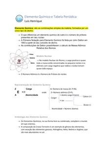Elemento Químico e Tabela Periódica