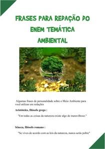 FRASES PARA REDAÇÃO DO ENEM TEMÁTICA AMBIENTAL