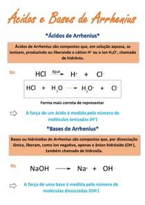 Resumo - Ácidos e Bases de Arrhenius