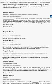 AVALIAÇÃO DO NÚCLEO COMUM RELACIONAMENTO INTERPESSOAL E ÉTICA PROFISSIONAL