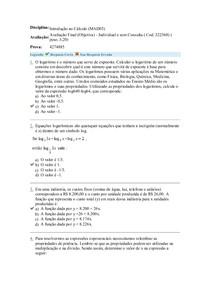 Avaliação Final Objetiva - Introdução ao Cálculo