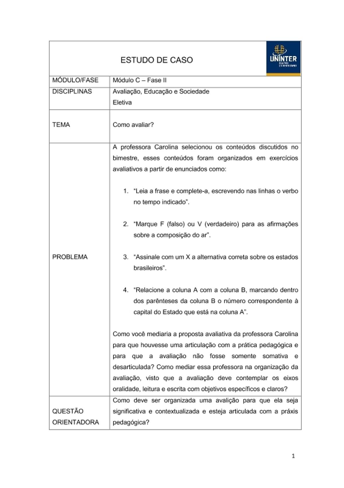 Pre-visualização do material Avaliação   CII 2018 - página 1