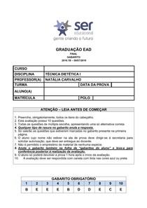 TÉCNICA DIETÉTICA I - FINAL 1B - GABARITO - LARISSA